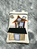 DIGITAL DOWNLOAD Applique Haunted House Bag and Zipper Charm Set