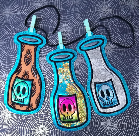4x4 DIGITAL DOWNLOAD Applique Poison Bottle Hanger Ornament Bookmark 4 Sizes