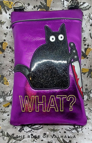 DIGITAL DOWNLOAD Applique Stabby The Cat Zippered Bag