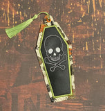 DIGITAL DOWNLOAD  4x4 AND 5x7 Applique Skull Coffin Hanger Bookmark Ornament