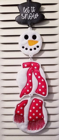 DIGITAL DOWNLOAD ITH 5x6 Let It Snow Snowman Door Hanger Applique