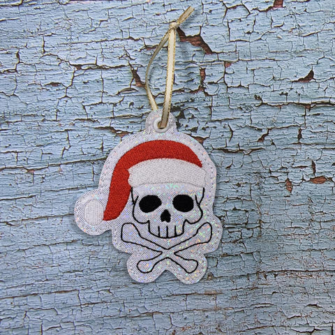4x4 DIGITAL DOWNLOAD Santa Skelly Skull Ornament