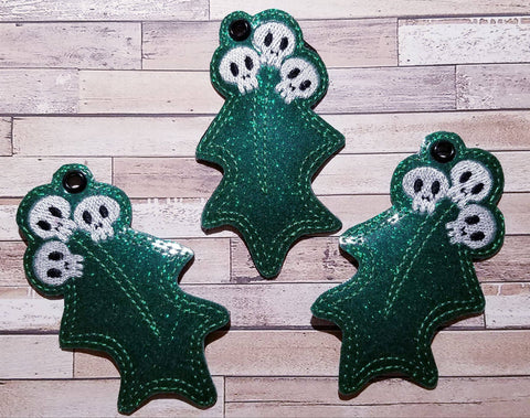 4x4 DIGITAL DOWNLOAD Holiday Skelly Skull Holly Feltie and Eyelet Set 3 Sizes