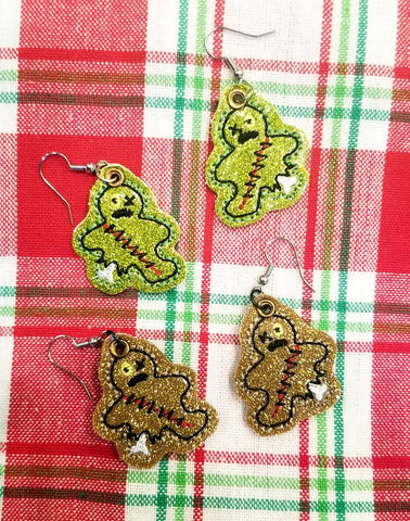 DIGITAL DOWNLOAD 4x4 5x7 Zombie Gingerbread Man Earrings 1 Inch
