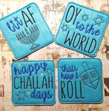 DIGITAL DOWNLOAD 4x4 Hanukkah Coaster Set