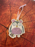 4x4 DIGITAL DOWNLOAD Sketchy Owl Bookmark Ornament Hanger