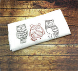 DIGITAL DOWNLOAD 3 Sizes Owl Trio Redwork Embroidery Design