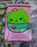 DIGITAL DOWNLOAD ITH Cute Not Cuddly Girl Kitty Cactus Applique Zipper Bag Lined and Unlined