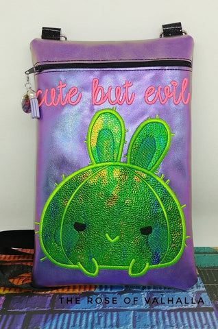 DIGITAL DOWNLOAD ITH Cute But Evil Bunny Cactus Applique Zipper Bag Lined and Unlined
