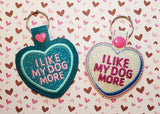 4x4 DIGITAL DOWNLOAD Dog Conversation Heart Cookie and Candy Snap Tab Set Applique