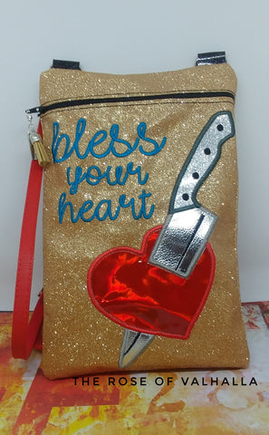 DIGITAL DOWNLOAD ITH Bless Your Heart Applique Zipper Bag Lined and Unlined