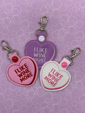 4x4 DIGITAL DOWNLOAD I Like Wine More Conversation Heart Cookie and Candy Snap Tab Set Applique