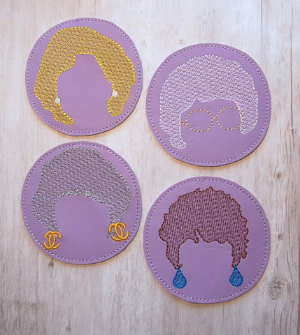 DIGITAL DOWNLOAD 4x4 Gold Gals Coaster Set FULL FILL and SKETCHY options included