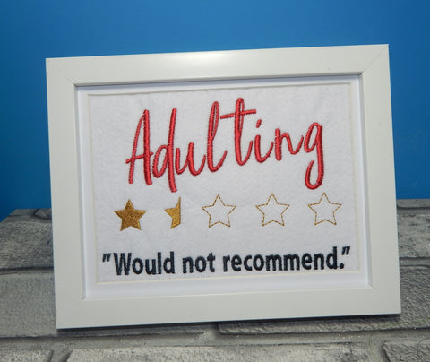 DIGITAL DOWNLOAD Adulting Not Recommended Design 4 Sizes