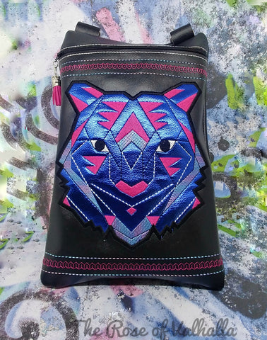 DIGITAL DOWNLOAD Geometric Tiger Applique Zipper Bag Lined and Unlined