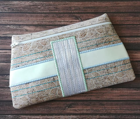 DIGITAL DOWNLOAD Between The Lines Clutch Applique Zipper Bag Lined and Unlined