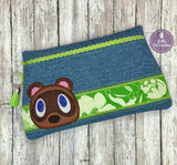 DIGITAL DOWNLOAD Tanuki Clutch Applique Zippered Bag Lined and Unlined