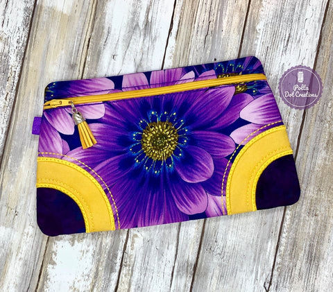 DIGITAL DOWNLOAD Britteny Clutch Applique Zippered Bag Lined and Unlined