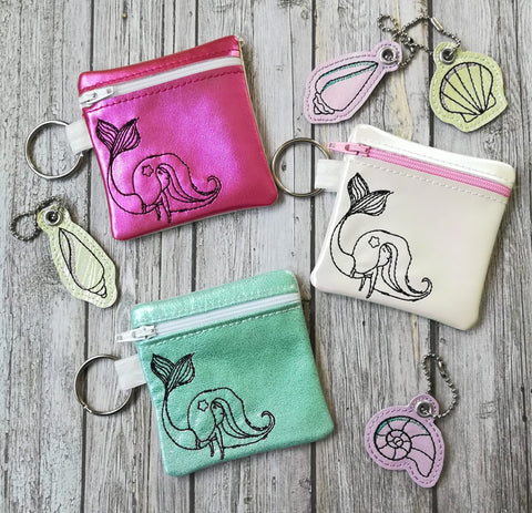 DIGITAL DOWNLOAD 4x4 Little Mermaid Girl Zipper Bag