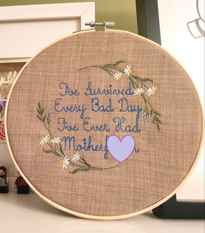 DIGITAL DOWNLOAD I've Survived Embroidery Design 5 Sizes 2 Versions