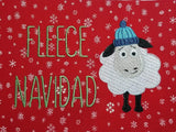 DIGITAL DOWNLOAD 3 Sizes Fleece Navidad Sheep Holiday Embroidery Design