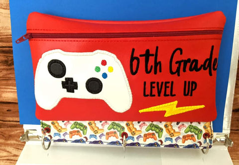 DIGITAL DOWNLOAD ITH Pencil Pouch Sixth Grade Level Up Applique Binder Bag 4 Sizes Included