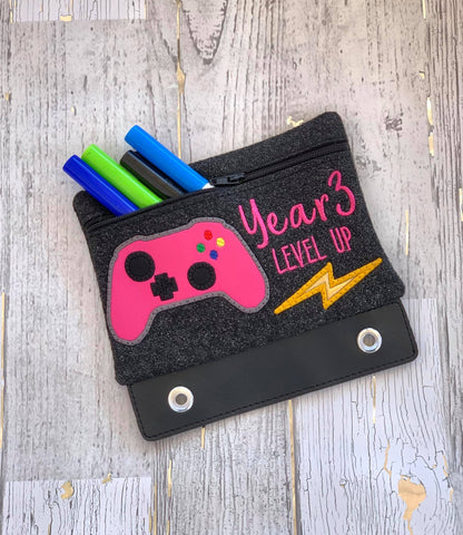 DIGITAL DOWNLOAD ITH Pencil Pouch Year Three Level Up Applique Binder Bag 4 Sizes Included