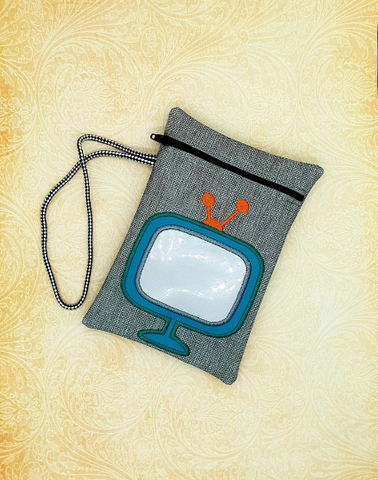 DIGITAL DOWNLOAD 5x7 Retro Television Applique Bag Embroidery Design Lined
