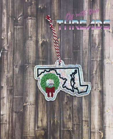 DIGITAL DOWNLOAD 4x4 Maryland State Holiday Ornament