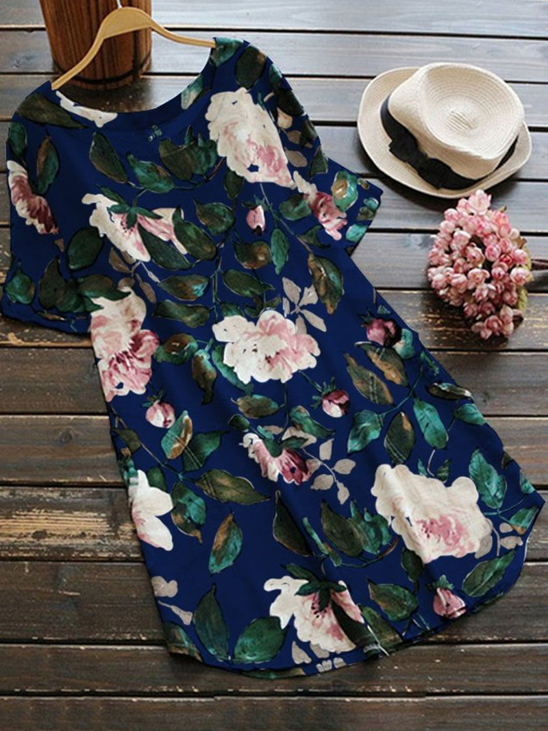 Crew Neck Women Linen Summer Print Dress Shift