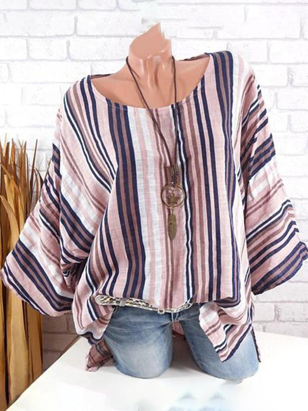 Vintage Striped Batwing Crew Neck T-Shirts
