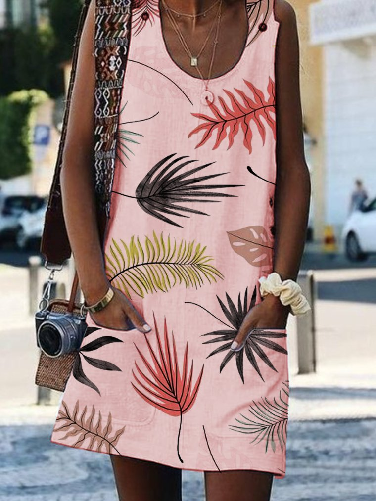 Bohemian Printed Drawstring Sleeveless Dresses