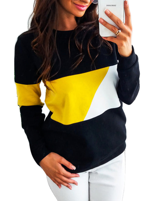 Casual Polyester Color-block Solid Sweatshirt