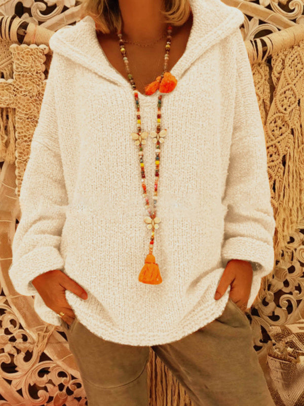 V Neck Hoodie Solid  Sweet Long Sleeve Knitted Sweaters