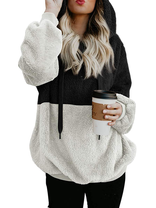 Solid Casual Color-Block Velvet Women Hoodie