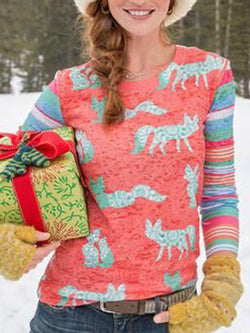 Holiday Color-Block Long Sleeve Shirts & Tops