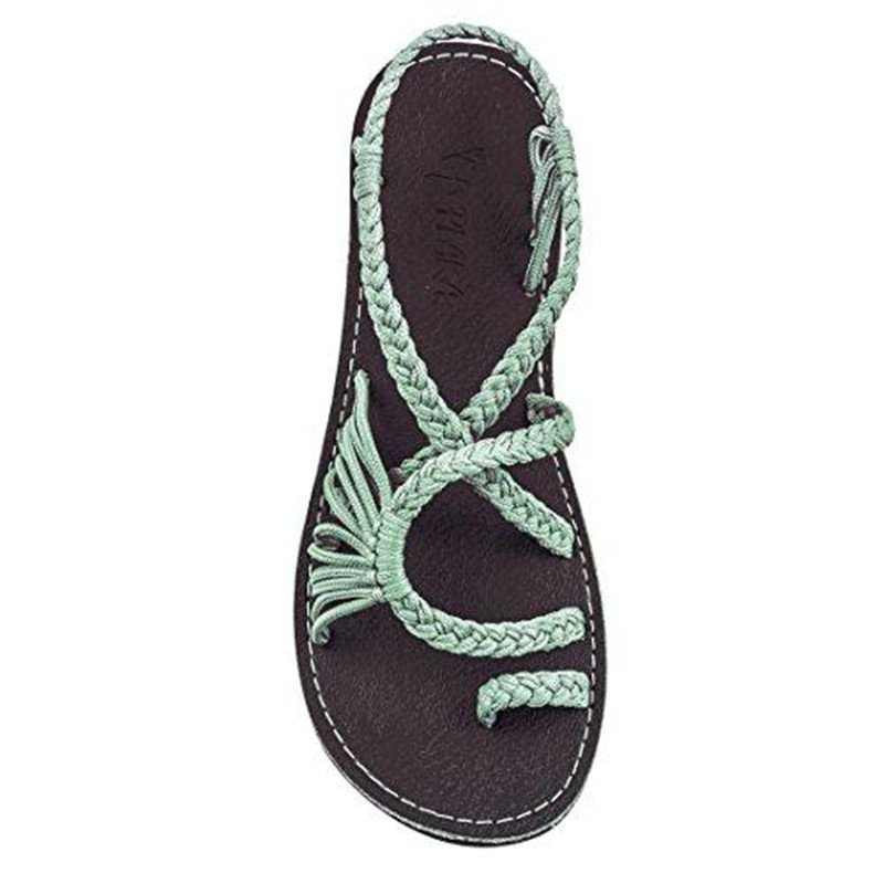 Anniecloth Shoes Braided Strap Open Toe Casual Flat Heel