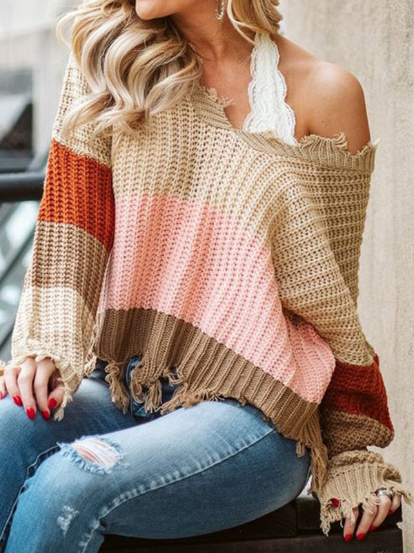 Khaki Knitted Stripes Vintage Long Sleeve Shirts & Tops