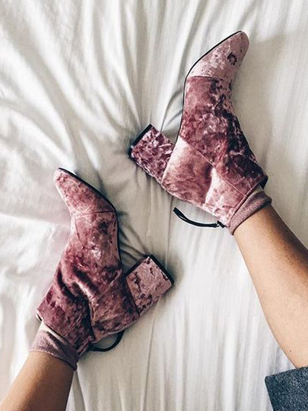 Winter Velvet Block Heel Boots