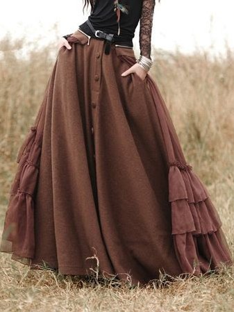 Coffee Solid Casual Cotton-Blend Skirts
