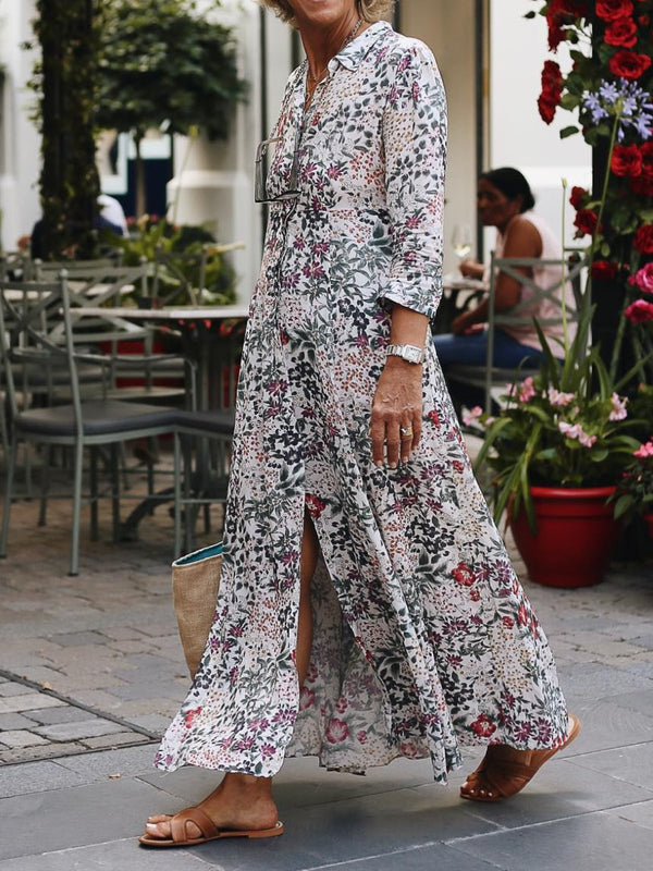 3/4 Sleeve Flowers Printed Maxi Shirt Dress