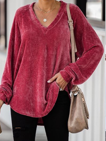 Casual Long Sleeve Solid Velvet Shirts Blouse
