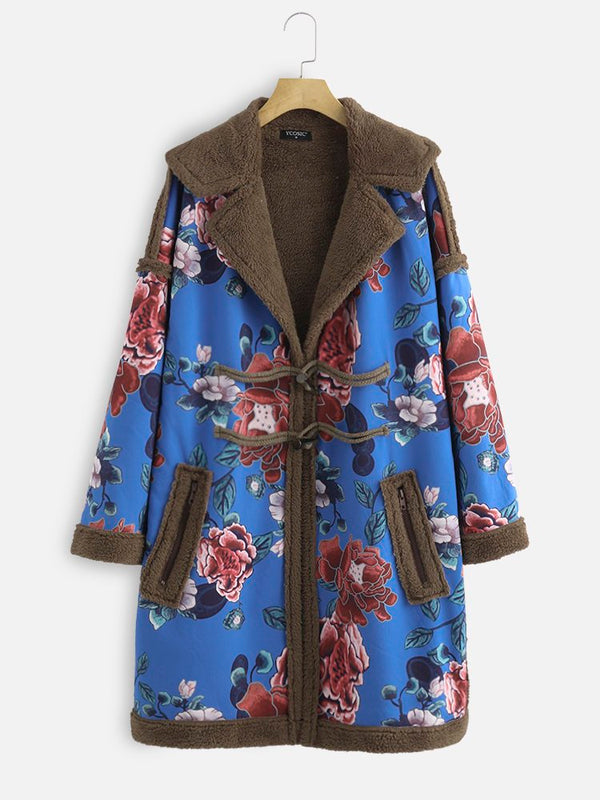 Vintage Floral Flannel Shawl Collar Outerwear