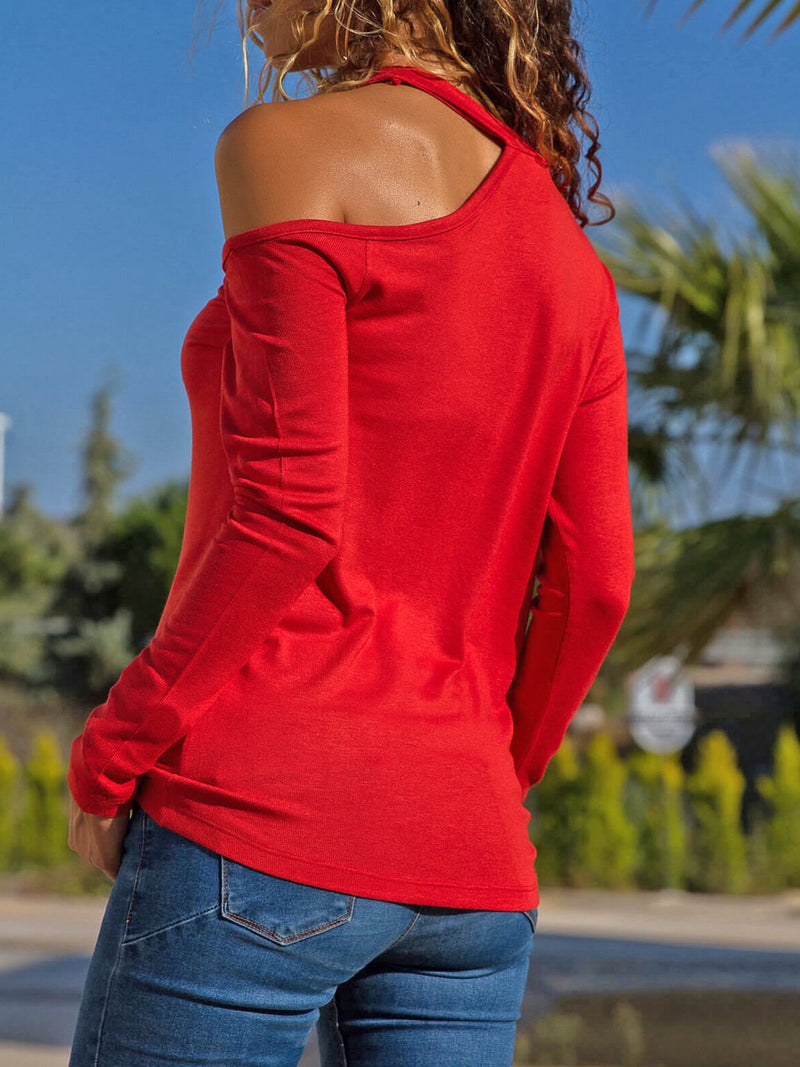 Halter Solid Long Sleeve Sexy Tops - T-Shirts