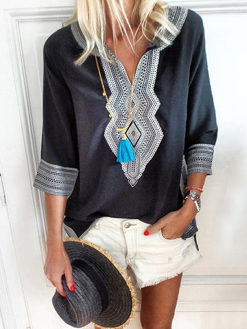 Patchwork 3/4 Sleeve Printed V Neck  Blouses