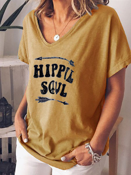 Letter Printed Casual Shirts & Tops