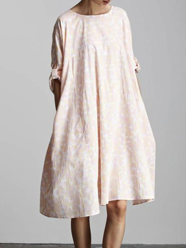 Light Pink Half Sleeve Patchwork Big Hem Dress Round Neck Dresses
