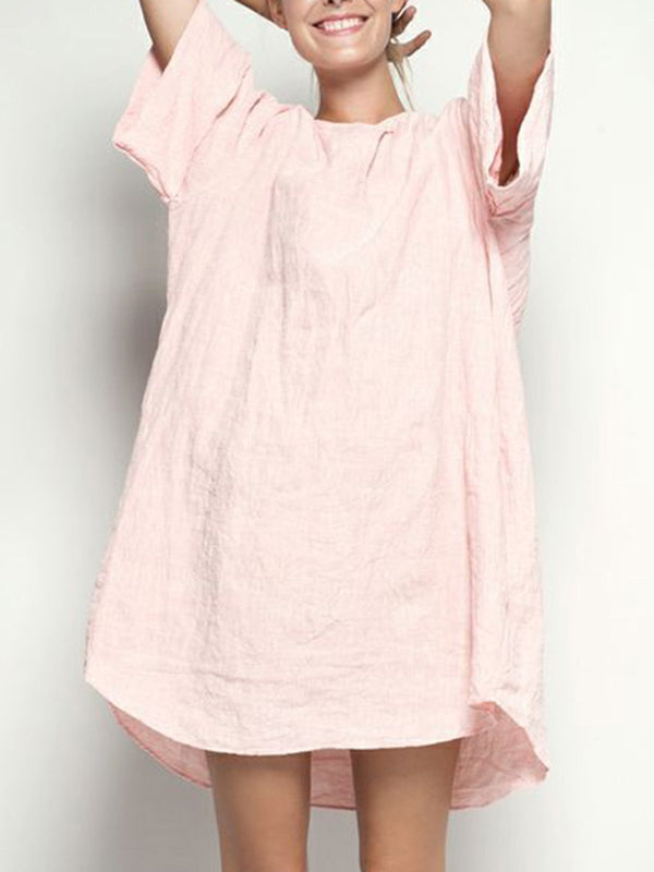 Crew Neck Women Dresses Cotton Paneled Dresses
