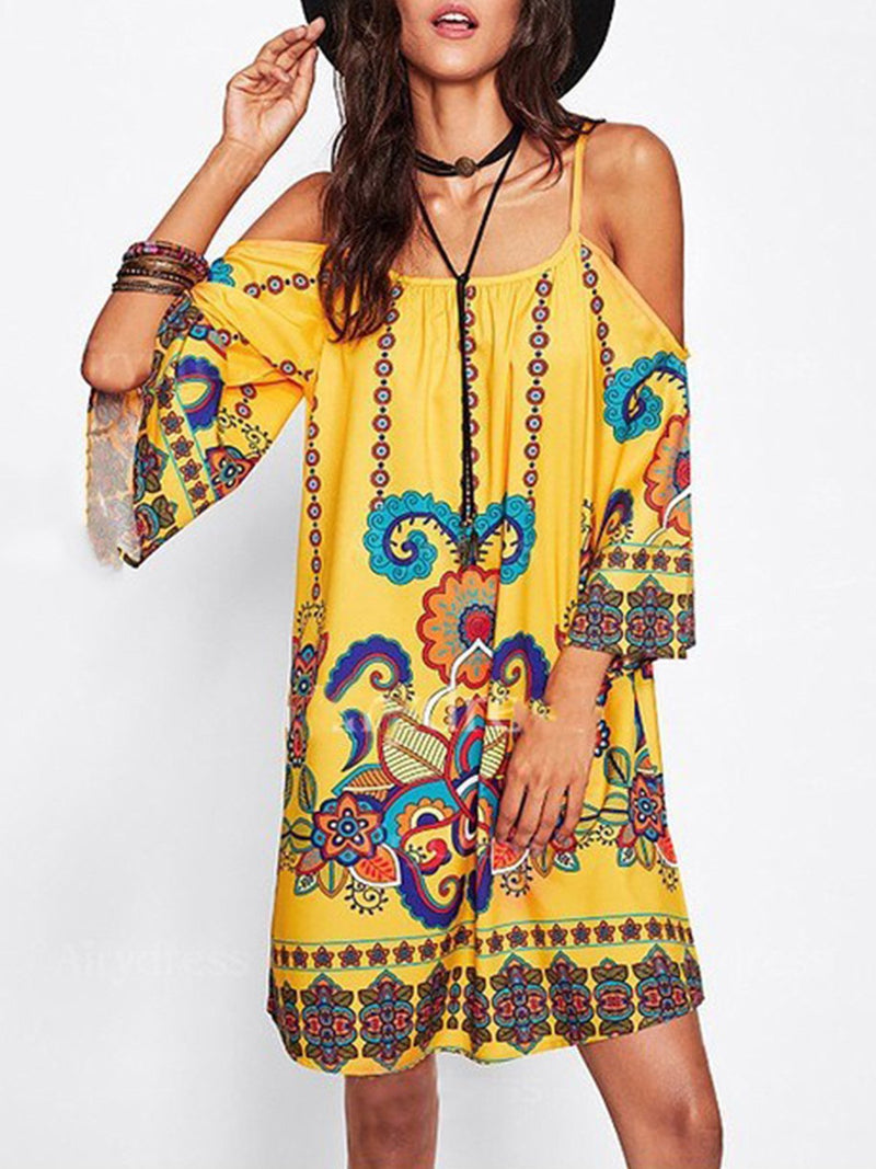 Yellow Bell Sleeve Floral Casual Dresses