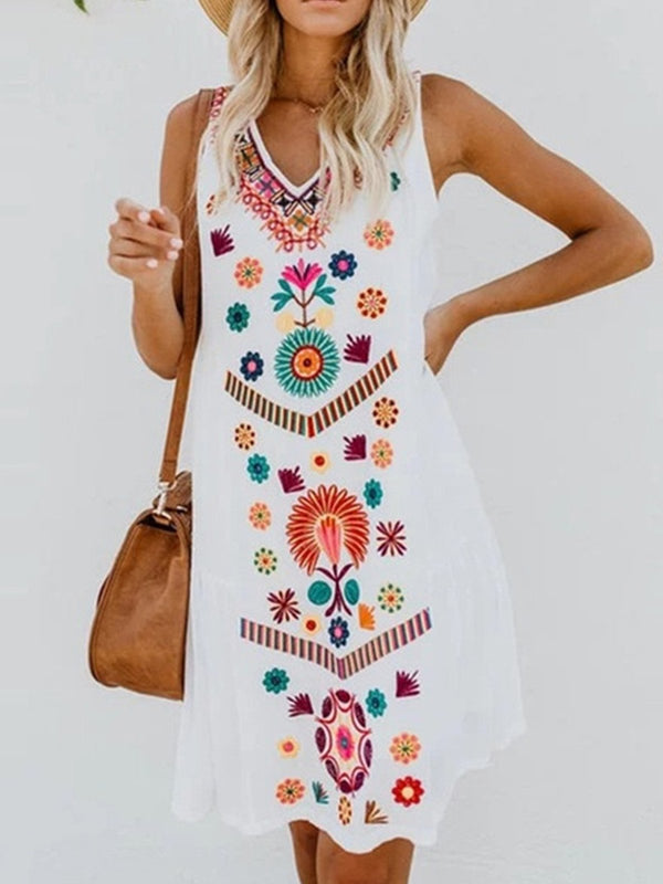 Women Casual Printed Tops Tunic Dress